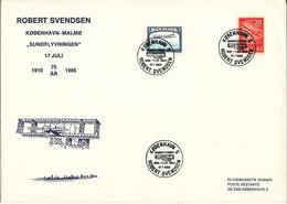 Denmark Cover Special Postmark Copenhagen 17-7-1985 75th Anniversary  Robet Svendsen Flight (big Size Cover) - Denmark