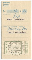 1786 - FRANCO Mit Tab Auf Zahlungsabschnitt Mit Stempel 8912 OBFELDEN 29.-8.69 - Portofreiheit