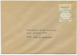 1787 - FRANCO Auf Brief Mit Blauem Stempel 1000 LAUSANNE -5.-6.69 - Franchise