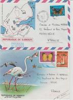Djibouti 2 Lettres De 1985 Avec Enveloppe Illustrée - Djibouti (1977-...)
