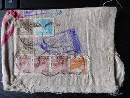 7 Timbres Oblit. China Tientsin Circa 1950 Sur Enveloppe Tissu - 1949 - ... République Populaire