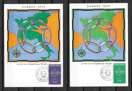 FDC Cartes  Maximum 1er Jour Strasbourg  19/9/195 Les  N° 1218 Et 1219  Europa  1959 TB ....soldé à Moins De 20 % ! ! ! - FDC