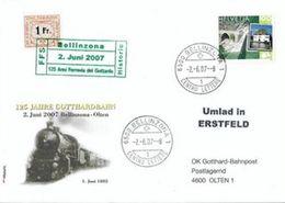 Schweiz Suisse 2007: 125 JAHRE GOTTHARDBAHN Mit Gottardo-Marke & Eisenbahn-Marke Von 1948 Mit O BELLINZONA 2.6.07 - Trains