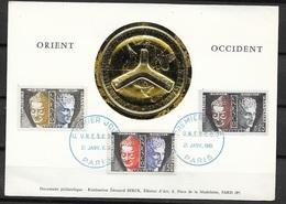 FDC Carte Maximum 1er Jour Paris Le 21/01/1961 Les Sevice  N°  22;23 Et 25    UNESCO TB ....soldé à Moins De 20 % ! ! ! - Maximum Cards