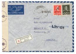 Brief Einschreiben 1943, Von Bucuresti - Bukarest Nach Berlin, Mit Zensur, Ohne Inhalt - 2. Weltkrieg (Briefe)
