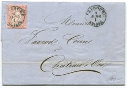 1795 - Strubel 15 Rp. Karminrot Auf Faltbrief Von FRIBOURG Nach Chateau D'Oex 1861 - 1854-1862 Helvetia (Ungezähnt)