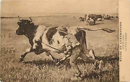 - Thèmes -ref-A558- Arts - Tableaux - Salon 1909 - Peintre  Jules Dupre - La Vache Echappée - Vaches - Animaux - - Peintures & Tableaux
