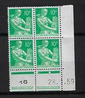 "FR Coins Datés YT 1115A "" Moisonneuse 10F. Vert "" Neuf** Du 28.1.59 - 1950-1959"
