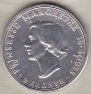 Denmark 2 Kroner 1958 . Princess Margrethe's 18th Birthday . Argent. KM# 845 - Dinamarca