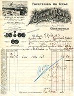 38.GRENOBLE.PAPETERIE DU DRAC.JOSEPH MOUTIN RUE AMPERE. - Imprimerie & Papeterie