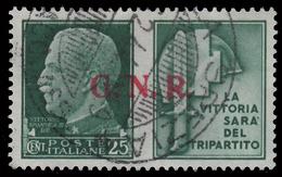 Italia: R.S.I. - PROPAGANDA DI GUERRA / G.N.R.: 25 C. Verde (IV - Milizia) - 1944 - 4. 1944-45 Repubblica Sociale