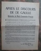 TRACT PARTI COMMUNISTE FRANCAIS : APRES LE DISCOURS DE DE GAULLE . 30 MAI 1968 . - Historical Documents