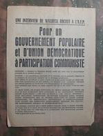 TRACT PARTI COMMUNISTE FRANCAIS : INTERVIEW WALDECK ROCHET  . MAI 1968 . - Historische Dokumente