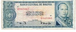 Bolivia P.153 5   Bolivianos 1962 Vf - Bolivia