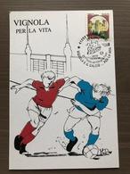 """Cartolina """"Vignola E Il Calcio...per La Vita"""" Con Annullo """"Verso France '98"""" 20-4-1996 - Calcio"""