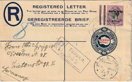 "SOUTH WEST AFRICA :  Postal Stationery Registerd Envelopes (H&G) Nr. 2  + Zegel (Y&T Nr. 41 - 6 D) Van ""TRUMEB 1925"" - Timbres"