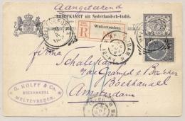 Nederlands Indië - 1904 - 7,5 Cent Briefkaart + 10 Cent Veth - Aangetekend Van VK Weltevreden Naar Amsterdam - Nederlands-Indië
