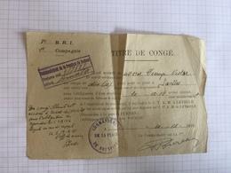 18E/1 -  Document Armée Belge Devroye Titre De Congé Fin Ww1 Leysele Cachet Commandant La Place De Bruxelles 1918 - Old Paper
