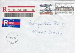Sweden - Registered  Cover Used 1994.  H-1333 - Sweden