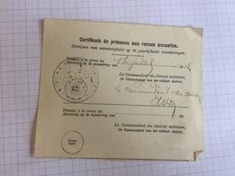 18E/1 -  Document Armée Belge Commandant 1913 Certificat Présence Revues Annuelles - Old Paper