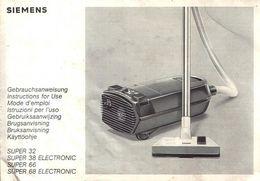 Alte Gebrauchsanweisung / Manual Siemens Staubsauger Super 32/38 Electronic/66/68 Electronic - Reparaturanleitungen