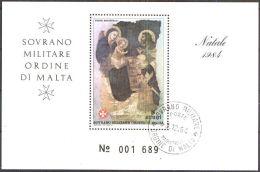 ORDEN VON MALTA 1984 Block Natale 1984 O Used - Malta (Orden Von)