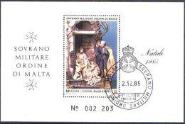ORDEN VON MALTA 1985 Block Natale 1985 O Used - Malta (Orden Von)
