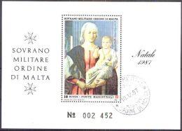 ORDEN VON MALTA 1987 Block Natale 1987 O Used - Malta (Orden Von)