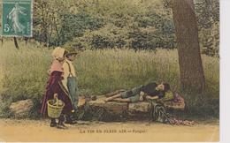 FOLKLORE - LA VIE EN PLEIN AIR - Fatigue !    ( - En Scène,3 Enfants... - Timbre à Date De 1908 ) - Folklore