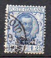 Somalia 1926 Sovrastampato N. 100  1,25 Lire Timbrato Used - Somalia