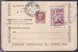 Carte Lettre  Locale Journée Du Timbre 1943 Rochefort Sur Mer Famille  Vignette Griffe Cachet Special Non Parvenu - France