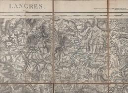 Langres (52 Haute Marne) Carte Entoilée  XIXe 1/80.000e 1885 (PPP8571) - Geographical Maps
