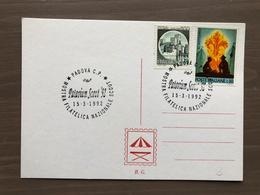 """Cartoncino Retro Cartolina Annullo Mostra Filatelica Nazionale Scout """"Patavium Scout '92"""" Padova 15-3-1992 - Scoutismo"""