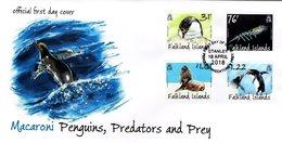 Falkland Islands - 2018 - Macaroni Penguins - Predators And Prey - FDC (first Day Cover) - Falklandeilanden