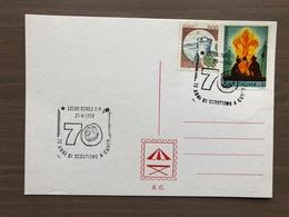 Cartoncino Retro Cartolina Annullo 70 Anni Di Scoutismo A Cuneo 25-4-1992 - Scoutismo