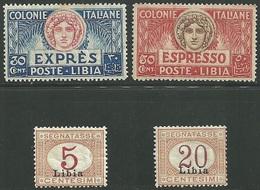 1915-21 - REGNO D'ITALIA - LIBIA - ESPRESSI E SEGNATASSE - 4 VALORI - MNH/MNLH -  SIGNED - EURO 60,00 - Libya