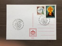 Cartoncino Retro Cartolina Annullo Mostra Storica 80 Anni Di Scoutismo Viareggio (LU) - Movimiento Scout