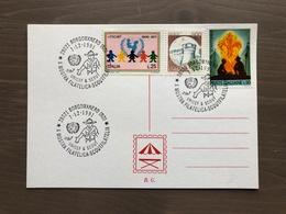 """Cartoncino Retro Cartolina Annullo X Mostra Filatelica """"Scoutfilatelia"""" Borgomanero (NO) 7-12-1991 - Movimiento Scout"""