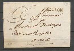 1760 Lettre Marque Tampon Toulon VAR(78)  26*5mm X2067 - Marcofilie (Brieven)