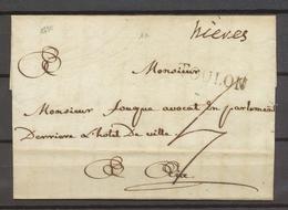1780 Lettre Marque Manuscrite Hieres Lenain 1a + TOULON VAR Superbe X3515 - Poststempel (Briefe)