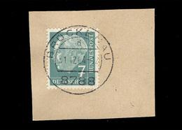 BRD 1954: Michel-Nr. 181 Y, Freimarken Heuss, 7 Pf., Fluoreszenz, Briefstück Stempel Brückenau, Letzttag 31.12.1964 - Gebraucht