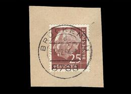 BRD 1954: Michel-Nr. 186 Y, Freimarken Heuss, 25 Pf., Fluoreszenz, Briefstück Stempel Brückenau, Letzttag 31.12.1964 - Gebraucht
