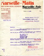13.MARSEILLE.QUOTIDIEN REGIONAL D'INFORMATION.MARSEILLE-MATIN & MARSEILLE-SOIR 81 RUE SAINTE. - Imprimerie & Papeterie