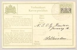Nederlands Indië - 1930 - 2 Cent Verhuiskaart G7b / H&G 7c Met VOLKSTELLING / MAKASSAR Naar Weltevreden - Nederlands-Indië