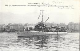 """83 - TOULON - CONTRE-TORPILLEUR """"CARABINE"""" Appareillant Pendant Les Manoeuvres 1907 - Phototypie MARIUS BAR Toulon - Toulon"""