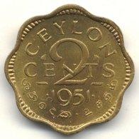 "1951 Ceylon 2 Cents ""King George VI"" Nickel Brass Circulated XF Coin [#0037] - Sri Lanka"