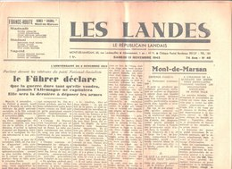 Les Landes. Le Républicain Landais. Mont De Marsan. N° 46. Samedi 13 Novembre 1943. Jean Lacoste. Fondé En 1871 - Autres