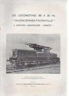 """1955 Revue Générale Des Chemins De Fer / Les Locomotives BB à 50Hz """"Valenciennes Thionville"""" à Moteurs..... - Railway & Tramway"""