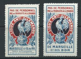 2 VIGNETTES époque DELANDRE - COQ GAULOIS - Poultry - Propagande  WWI WW1 Cinderella Poster Stamp 1914 1918 War - Vignettes Militaires