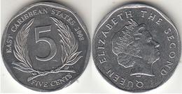 East Caribbean States 5 Cents 2008 Km#36 - Used - Caraibi Orientali (Stati Dei)